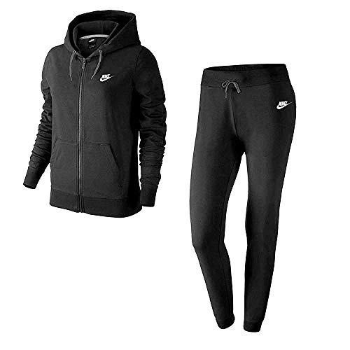 Nike W NSW TRK Suit FLC–Tuta per Donna, Donna, W NSW TRK Suit FLC, Nero/Bianco, M