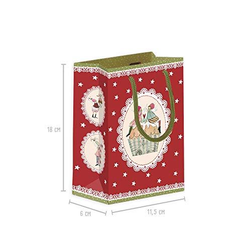 Geschenktüten 3er Set klein zu Weihnachten aus Papier, Geschenkverpackung mit Henkel, Geschenktüte mit Boden für Geschenke, Papiertüten xmas Adventskalender