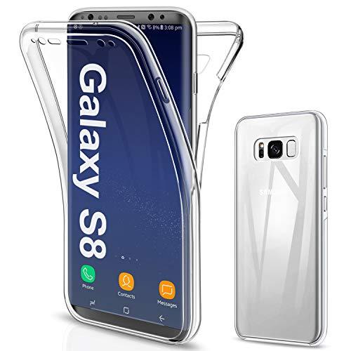 SOGUDE für Samsung Galaxy S8 Hülle, für Samsung Galaxy S8 Schutzhülle 360 Grad Full Body Front Und Rückenschutz Handyhülle Transparent Silikon Schutzhülle TPU Bumper für Samsung Galaxy S8