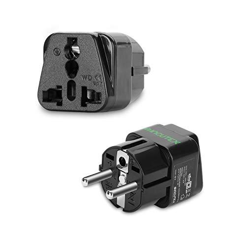 Incutex 1x universal Steckdosenadapter Reiseadapter universal Reisestecker US UK zu EU DE Schuko universal travel Adapter Plug, schwarz
