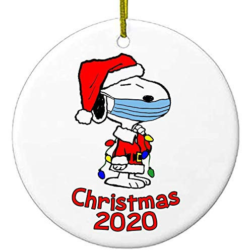 ORNAMENT 2020 Christmas Snoopy with mask | Charlie Brown Peanuts | Cute Ceramic 2.8'