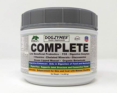 Dogzymes Complete - Probiotics, prebiotics, Glucosamine, Chondroitin, MSM and Hyaluronic Acid, Complete Skin and Coat Care (1 Pound)