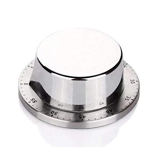 1pc Round Kitchen Timer Zeit Erinnerung Küchenhelfer Koch Uhr mit Magnetfuß Countdown Alarm Mechanische Kochen Count Up (Color : Silver)