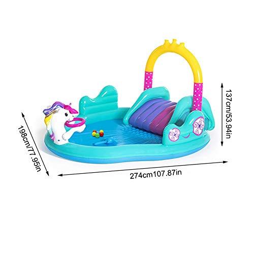 bestshop 108 78 54in Aufblasbarer Babypool mit Rutsche, Einhorn-Baby-Planschbecken für Kinder,...