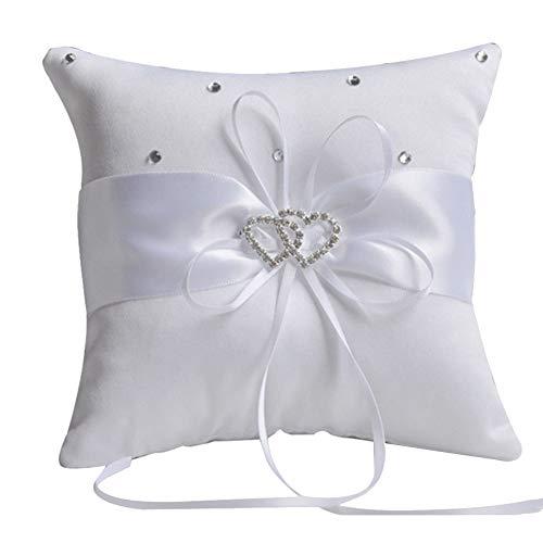 litty089 Handmatige Vlinder Dubbel Hart Lint Romantische Bruids Bruiloft Ring Kussen Decor 10x10cm - Blauw Kleur: wit
