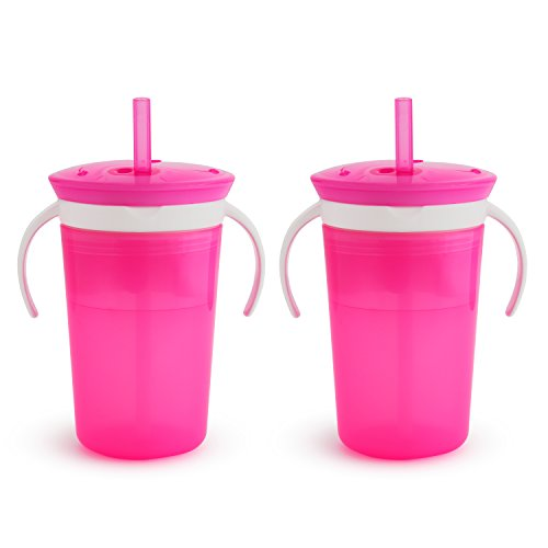 Munchkin SnackCatch & Sip 2-in-1 Snack Catcher and 2 Piece Spill-Proof Cup, Pink