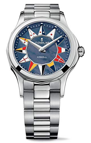 Corum Admiral Legend 32 Steel Automatic Nautical Flag Blue Mother-of-Pearl Dial Womens Watch 400.100.20/V200 AB12