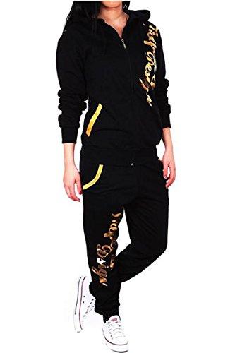 Violento dames joggingpak ThePower Design, trainingsbroekjack pak van 100% katoen, met capuchon en geribde manchetten, van XXS tot XXL (XXL, zwart-goud)
