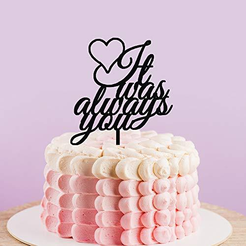 Aangepaste bruiloft taart topper, het was altijd je taart topper, rustieke Silhouette taart topper voor bruiloft, goud