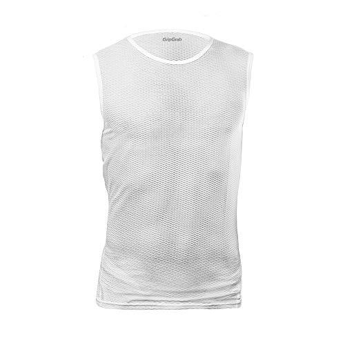 GripGrab Ultralight - Ärmelloses Unterhemd - Anti Geruch - Atmungsaktiv - Radsportunterhmed, Herren und Damen, Weiß, XL