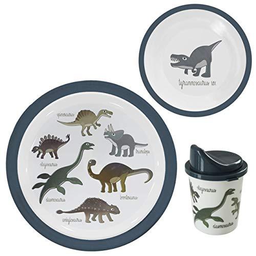 Sebra - Melamin Geschirrset - Kindergeschirr - Dino - Dinosaurier - Graublau - 3-teilig