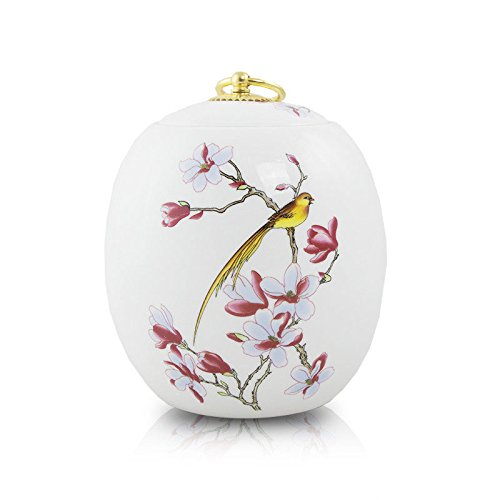OneWorld Memorials Golden Bird Ceramic Pet Urn - Medium - Holds Up to 105 Cubic Inches of Ashes - White Pet Cremation Urn for Ashes - Engraving Sold Separately