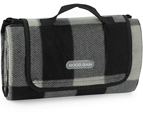 Good Gain Extra Large Picnic Blanket Tote for Outdoor Camping on Grass Comfortable Premium Fleece Picnic Mat with Waterproof and Sandproof Backing Lightweight Foldable Beach Mat with Handle