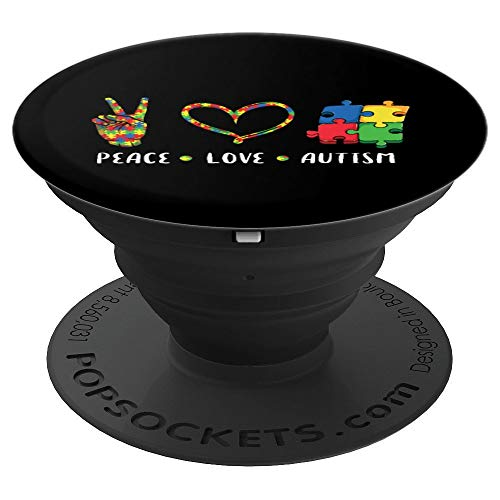 Peace Love Autism Awareness gift for men women kids boy girl PopSockets Grip and Stand for Phones and Tablets