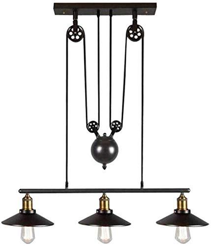Preisvergleich Produktbild JIAN Exquisite Lighting ZjNhl Vintage-Eisen-Pulley Kronleuchter,  3 Light Industrial Loft Deckenleuchten Antique Pulley Rise and Fall Licht for Kitchen Island Dining Room Bar