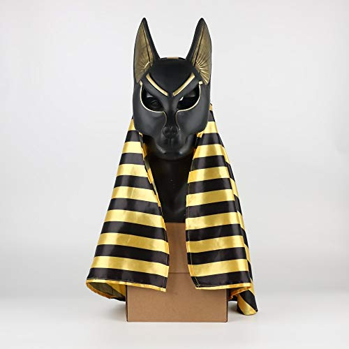 Egipcio Anubis Cosplay Máscara De La Cara PVC Canis Spp Lobo Cabeza Chacal Animal Mascarada Props Fiesta Halloween Fancy Dress Ball