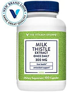 The Vitamin Shoppe Milk Thistle Extract 300mg Capsules, Silymarin Extract for Healthy Liver Support – Seed/Fruit Once Dail...