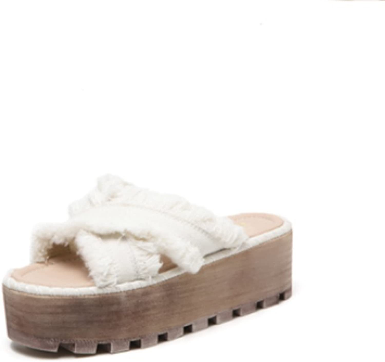 Weiwei Frau Sommer Dicke Sohlen Pantoffeln,mit Flachem Boden mit Fransen mit Zehe Hausschuhe  | Rich-pünktliche Lieferung  | Elegante Form  | Zarte