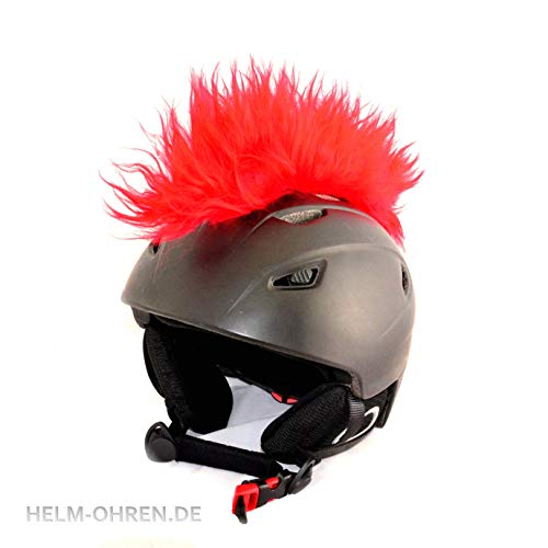 Helm-Irokese für den Skihelm, Snowboardhelm, Kinderskihelm, Kinderhelm, Motorradhelm oder Fahrradhelm - - Der HINGUCKER - Der etwas auffälligere Helm-Aufkleber - für Kinder und Erwachsene HELMDEKO (Rot)