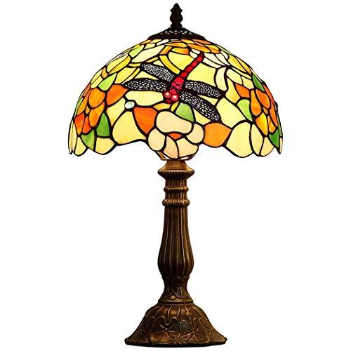 JUNJUNA Tiffany Tischlampe, künstlerisch Elegantes Nachtlicht, Lampenschirm + gusseiserner Sockel, Garten-Libelle, Schlafzimmer-Lampe,Tiffanytablelamp