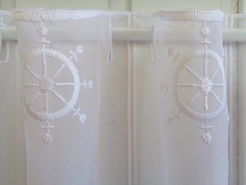 Arinosa Scheibengardine Maritim Steuerrad weiß 30 cm 45 oder 60 cm Hoch ab 1 Meter, Höhe:45