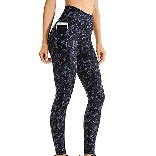 QTJY Pantalones de yoga elásticos impresos para mujer, medias de fitness, ejercicios de correr, medias de secado rápido sin costuras, B, XL