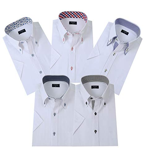 ワイシャツ半袖 メンズ 5枚セット ビジネスシャツ Yシャツ 好きなセットが選べる(LM0502E-L)