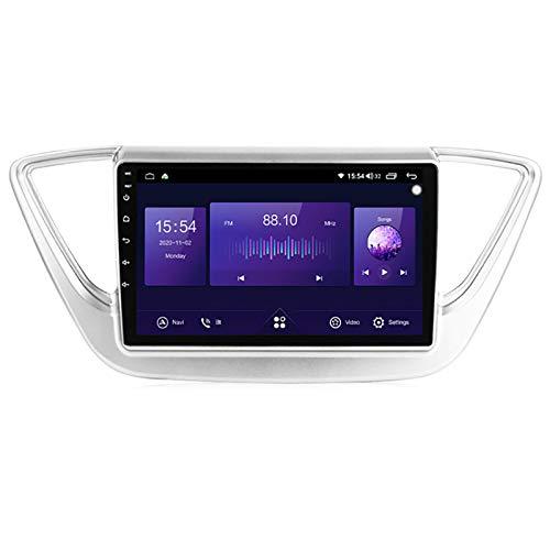 YLCCC Unidad de Cabeza de navegación GPS de Coche Adecuado para Hyundai Verna 2017-2018 Coche Estéreo Sat Nav Capacitivo Touch HD Carplay Sistema de Radio Incorporado,Plata,4Core 4G+WiFi:1+16G