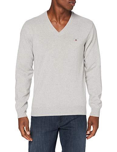 GANT Herren Superfine Lambswool V-Neck Pullover, Light Grey Melange, S