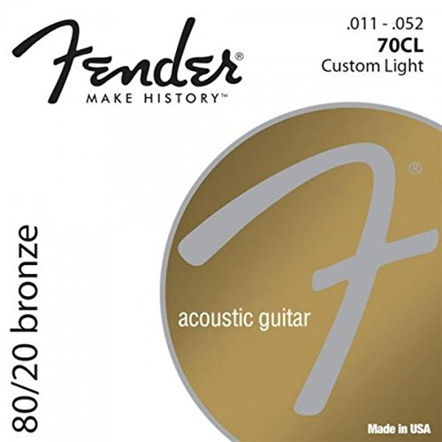 Fender Accessories 073-0070-405 80/20 Bronze Acoustic Guitar Strings, Light