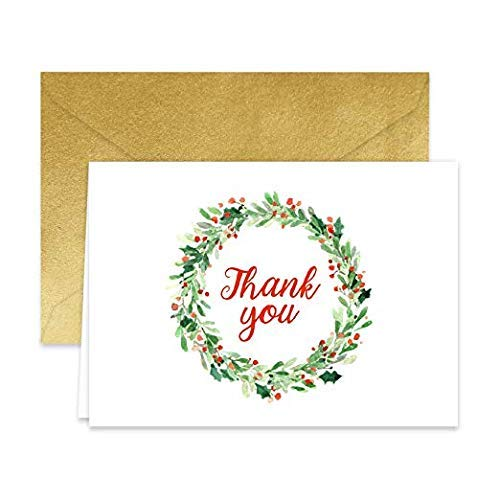 Paper Frenzy Holiday Wreath Thank You Note Cards and Gold Shimmer Envelopes 25 Pack