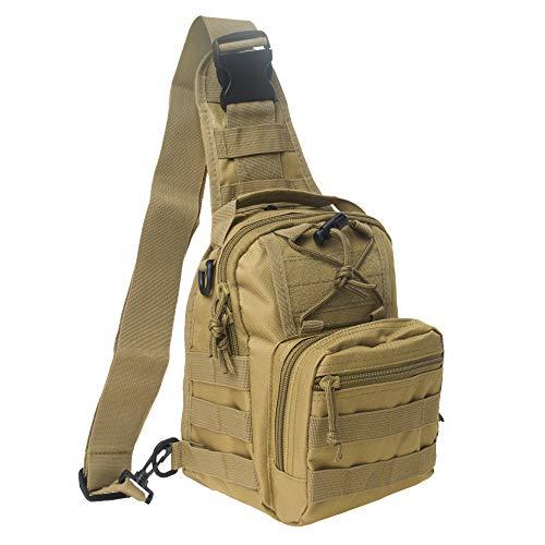 TOPTIE Sling Bag Tactical Mochila de Asalto Militar de Molle Mochila con Bandolera en el Pecho para Hombres Mujeres Camping Senderismo Tan