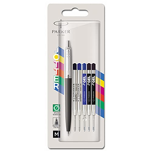 Parker Jotter Originals Penna a Sfera | Nero Classico | Punta Media | 2 Ricariche per Penna a Sfera Quinkflow & 3 Ricariche per Penna Gel Quink | Inchiostro blu e nero | 6 pezzi