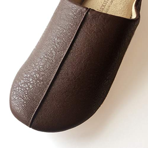 ニッポンスリッパルームシューズrelaxin'homeフェイクレザー24-27cmブラウンやわらかな履き心地300541