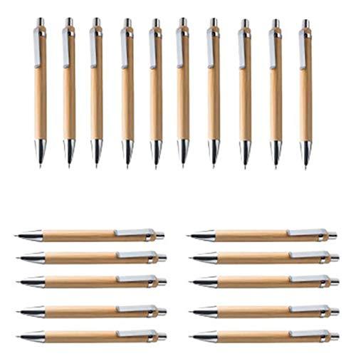 bobotron Lot de 60 stylos à bille en bambou et bois, recharge bleue