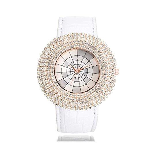 Thumby Praktische Horloges Horloge, Volledige Boor Grote Wijzerplaat met Lederen Band Mode Ronde Quartz Horloge Vrouwelijk, Wit Horloge Dames Decoratieve Horloge Armband