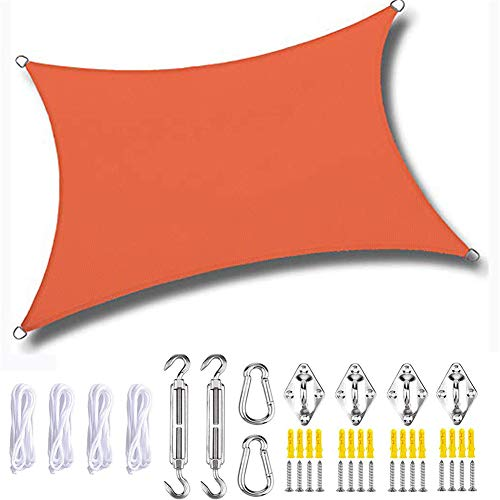 Sombra de vela cuadrada, rectángulo de vela con kit de fijación, protector solar, tela Oxford impermeable, anti-UV (2 × 1,8 m, naranja)