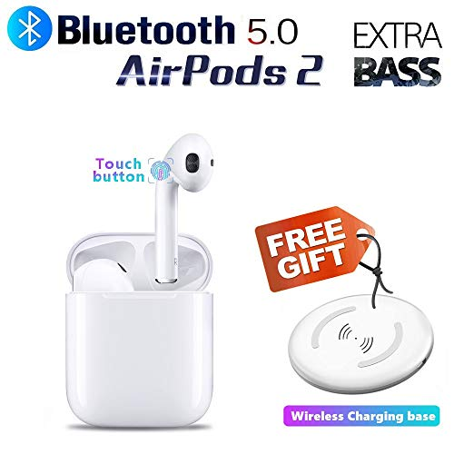 Bluetooth Headphones Wireless Earbuds Wireless Charging Box Touch Button Built-in Mic in-Ear Extra BASS Stereo Earbud for airpods Apple airpods 2 airpod Sports Earphones iPhone/Android (White)