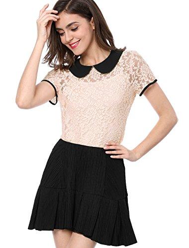 Allegra K Women's Peter Pan Collar Short Sleeve Tops Sheer Lace Top Pink 14