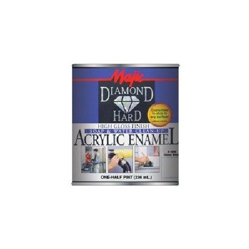 Majic Paints 8-1500-4 Diamond Hard Acrylic Enamel High Gloss Paint, Half Pint/8-Ounce, Gloss White