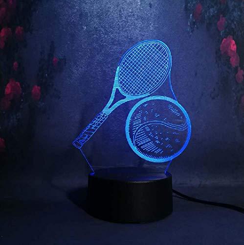 3D Led Ladelampe Nachtlicht Kind Geschenk Dekor Sportler Anwenden Werkzeug Tennisschläger Bild Display Lampe