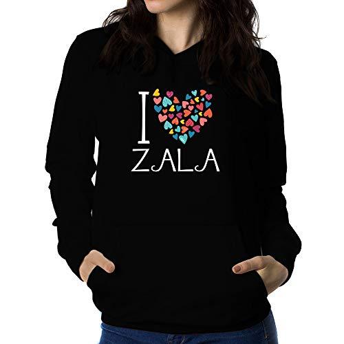 Teeburon I Love Zala Colorful Hearts Sudadera con Capucha para Mujer
