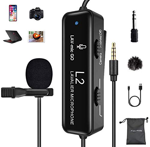 FULAIM Micro Cravate Professionnel avec Réduction du Bruit pour iPhone/Appareil Photo/PC/Android/Caméscope, Micro à Condensateur Omnidirectionnel pour Vlogging, Interview, Youtube, Podcast