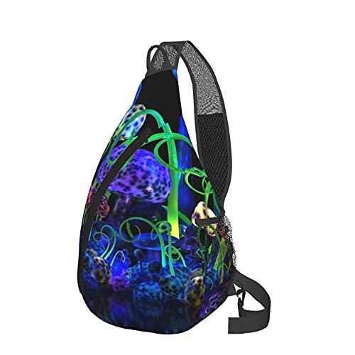 Mochila bandolera misteriosa de seta para el pecho de la bandeja, ligera, mochila de viaje, bolsa de mensajero para senderismo, camping