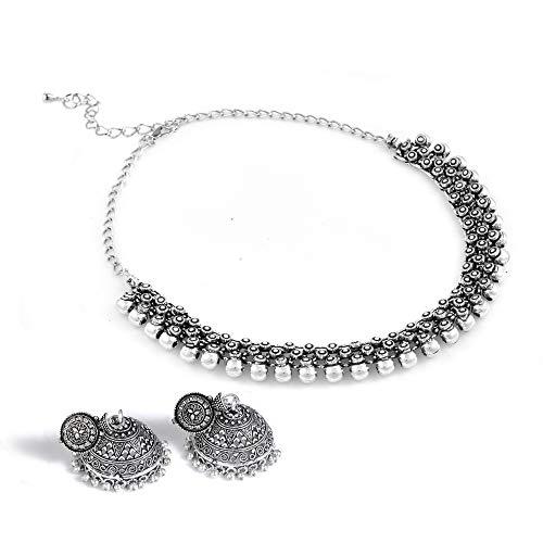 Paradise Jewels Oxidised German Silver Chokar Necklace with Earrings for Women & Girls - (Lead Free)