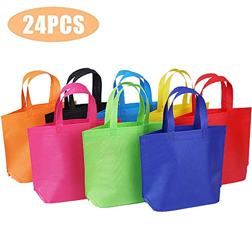 24 Pack 13' Tote Gift Bags One Side Blank Non-woven Bags Colored Treat Bags