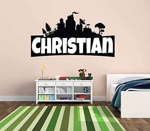 "Custom Name Wall Decal - Famous Game - Wall Decal for Home Bedroom Nursery Playroom Decoration (Wide 40""x22"" Height)"