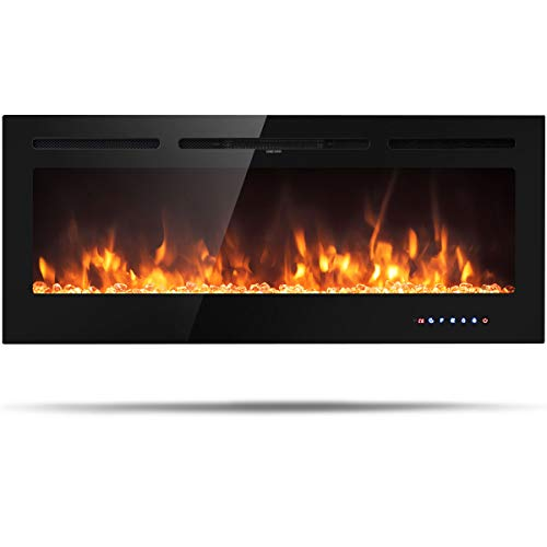 Tangkula 50' Electric Fireplace, in-Wall Recessed and Wall Mounted 750 W / 1500 W Fireplace Heater, Touch Screen Control Panel, 9 Flamer Color, Temperature Control & Timer Crystal Heater (50 inches)