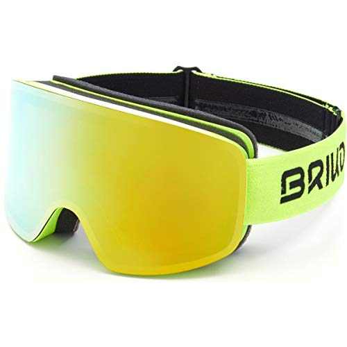 Briko Borealis Magnetic Máscara de esquí/Snow, Adultos Unisex, Yellow Fluor-Yellow Mirror Cat....