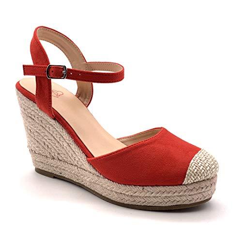Angkorly - Damen Schuhe Sandalen Espadrille - Böhmen - Kasual - romantisch - Riemen - mit Stroh - Geflochten Keilabsatz high Heel 9.5 cm - Rot 7 F05 T 37